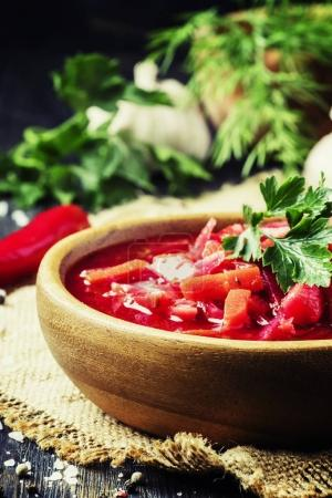 Borsch soup with beets