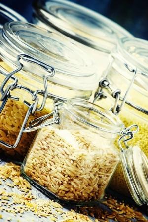Assorted cereals in glass jars