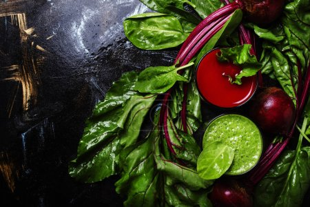 Healthy smoothies made of spinach and beets
