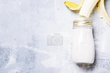 Banana smoothie in a bottle