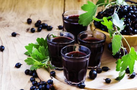 Black currant juice in glasses