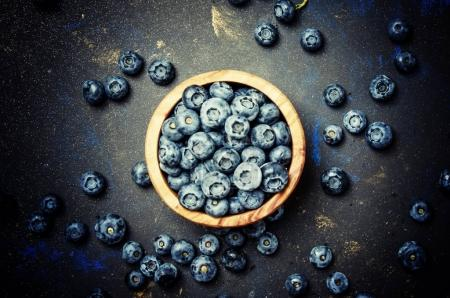 Blueberries in bowl, top view
