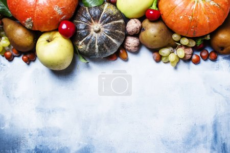 Fall food background with pumpkins