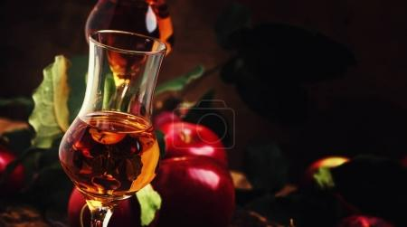 French strong golden alcoholic drink from apples
