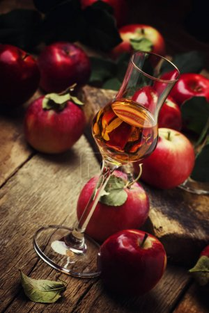Strong golden alcoholic drink from apples