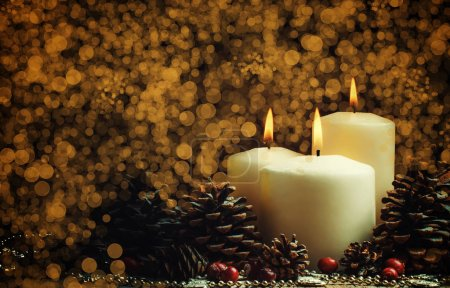 Christmas Or New Year's Composition With Burning Candles