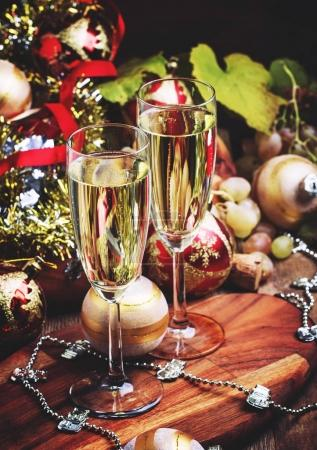 Champagne In Glasses New Year or Christmas Decorations, Vintage