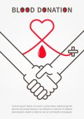 Blood Donation Handshake vector illustration with red heart