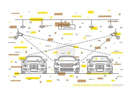 Illustration pour Vidéo surveillance parking concept vectoriel avec des éléments décoratifs colorés. Caméra de sécurité dans le parking intérieur concept créatif de voiture . - image libre de droit