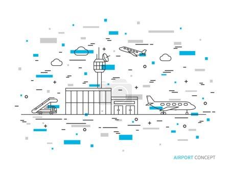Airport terminal, plane, transportation linear vector illustration