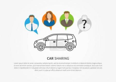 Car sharing vector illustration. Car to share grap...