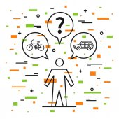 A person chooses between car and bicycle vector illustration