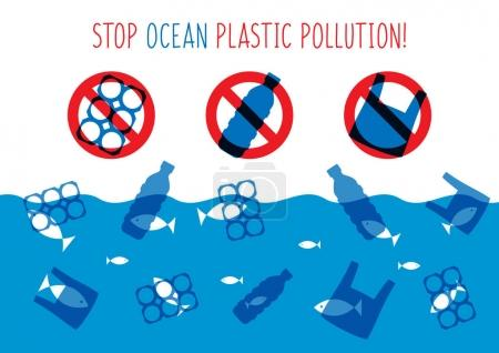 Illustration pour Arrêtez l'illustration vectorielle de pollution plastique océanique. Poubelles en plastique, sac, bouteille dans la conception graphique de l'océan. Problème des déchets d'eau concept créatif. Éco bannière problème avec signe restrictif . - image libre de droit