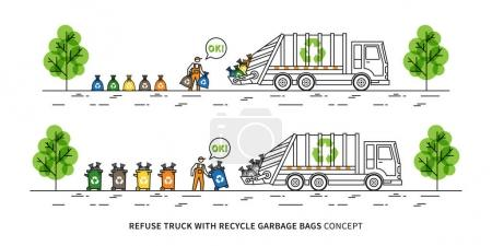 Refuse truck with recycle garbage bags vector illustration