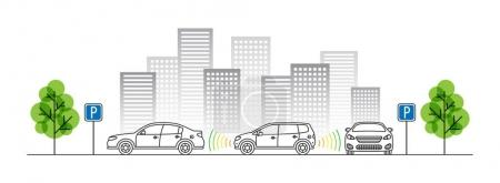Car parking sensor vector illustration. Autonomous...