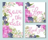 A set of wedding cards with beautiful flowers of hydrangeas and dark berries Hand-painted lettering