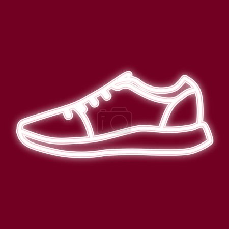 Image of sneakers. Icon with the effect of neon gl...