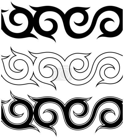Black and white tattoo ornament pattern set