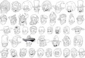 Cool different cartoon black and white characters heads