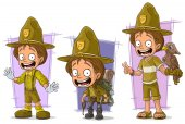 Cartoon boyscout ranger and tourist character vector set