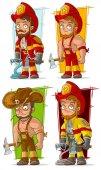 Cartoon fireman in uniform character vector set