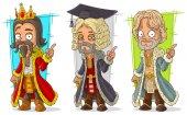 Cartoon medieval king judge character vector set
