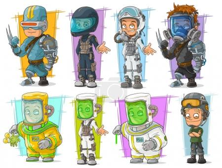 Illustration for Cartoon cool cyborg soldier and scientist with protective mask character vector set - Royalty Free Image