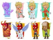 Cartoon little cupid angels and evil red demon character vector set