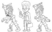 Cartoon cool walking zombie scientist character vector set