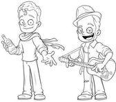 Cartoon street musicians with guitar character vector set