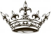 Graphic black and white king crown vector