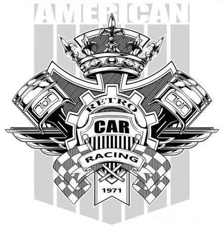 Illustration pour Armoiries graphiques noir et blanc avec pistons croisés drapeau de course couronne royale diamant engrenages et ailes sur fond gris vecteur - image libre de droit