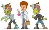 Cartoon walking zombie scientist characters set