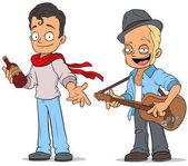 Cartoon street musician with guitar characters set