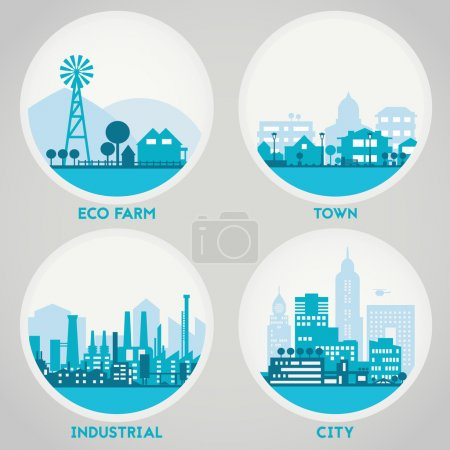 Illustration for Abstract stylish cityscape circle background. Four banners collection with town, city, farm and industrial district - Royalty Free Image