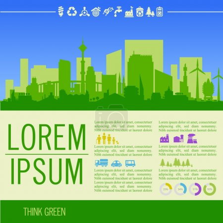 Illustration for Vector ecological illustration with downtown district and infographics - Royalty Free Image