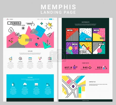 Illustration for Trendy responsive landing page or one page website template, with rendy memphis style design geometric header and elements - Royalty Free Image