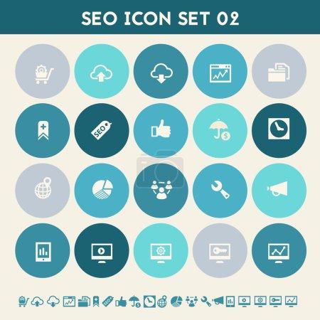 Illustration pour Appartement moderne design multicolore collection d'icônes de Seo, série 2 - image libre de droit