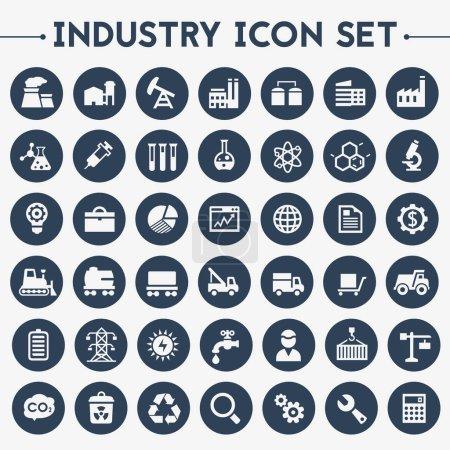 Photo pour Design plat tendance grandes icônes de l'industrie fixées sur des boutons ronds - image libre de droit