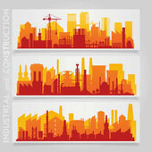 Vector horizontal banners with industrial part of city Factories refineries and power plants