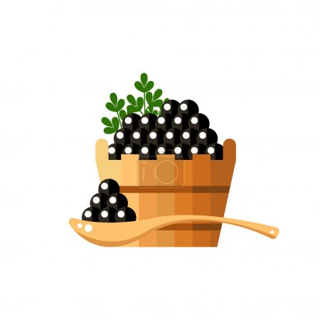 Black caviar in a wood barrel and spoon. Roe icon vector illustration. Russian traditional snack. Caviare menu for restaurant.