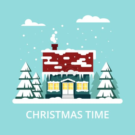 Winter cozy house with fits on blue background. Christmas time, happy new year - vector illustration. Snow flat city urban landscape, december cold xmas.