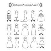 Collection of white thin line wedding dresses - stock vector illustration Bride dress silhouette