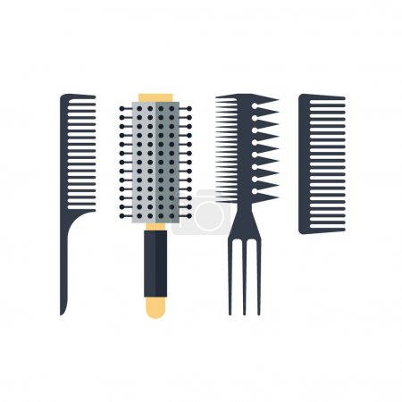 Set flat combs isolated on white background - vector illustration. Equipment for barbershop, styling tool. Beauty salon accessories