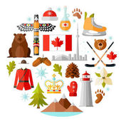 Traditional national symbols of Canada Set of Canadian icons Vector illustration in flat style