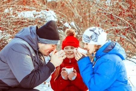 winter drink tea in the woods