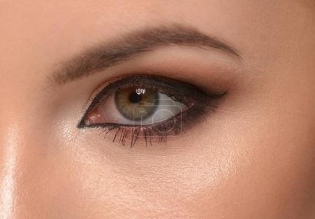 woman eye with makeup and eyeliner