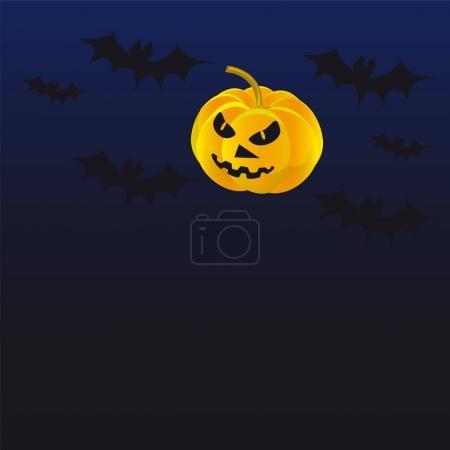 Histoire d'horreur de citrouille chauves-souris fond sombre. Illustration vectorielle d'un site