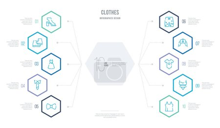 Illustration for Clothes concept business infographic design with 10 hexagon options. outline icons such as camisole, bra & knicker, baby grow, ushanka, swim shorts, necktie - Royalty Free Image
