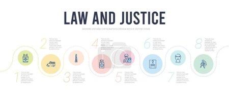 Illustration pour Droit et justice concept infographie modèle de conception. inclus corps, cagoule, certificat de décès, swat, spray au poivre, icônes de couteau papillon - image libre de droit